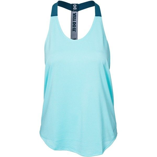 Nike Elastika Tank ($39) ❤ liked on Polyvore featuring activewear, activewear tops, tops, tank tops, tanks, athletic, nike, aqua, sports fashion and vests