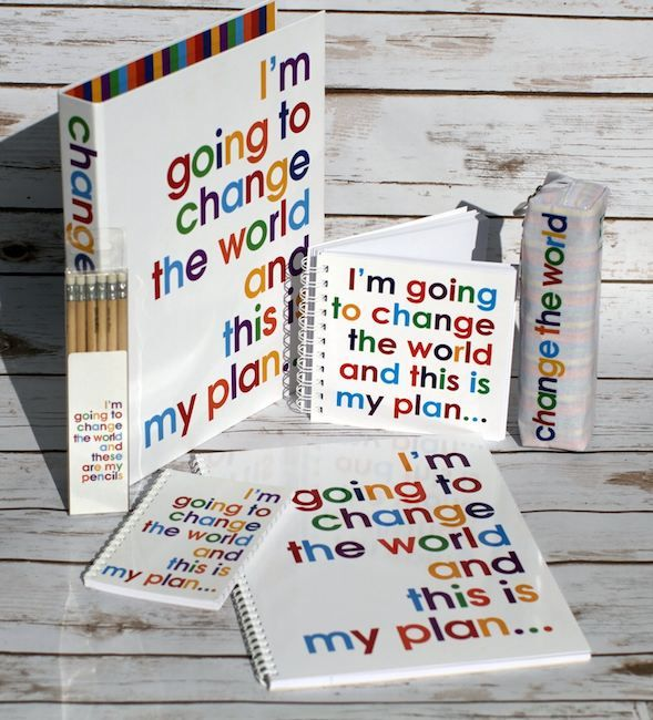 I'm going to Change The World stationery range. For the eco-warrier or the child who will, one day, live in a dormant volcano with a white cat...