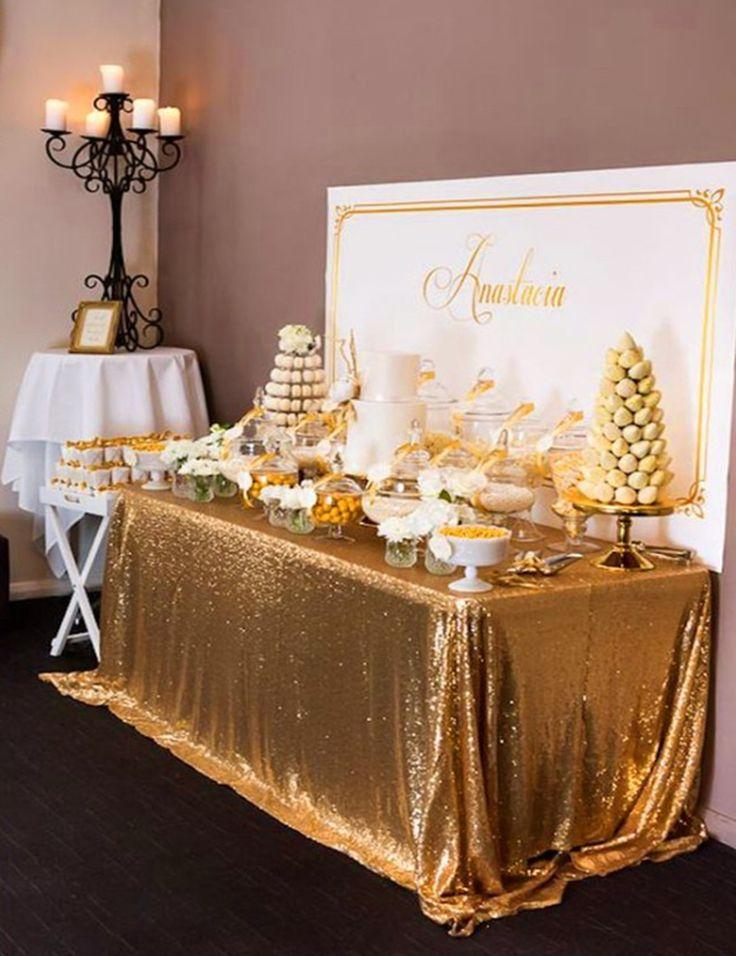 8FT Banquet Gold Sequin Table Cloth Large 90x156inch Gold Sequin Tablecloths for Weddings Sequin Table Linens Events Decoration #Affiliate