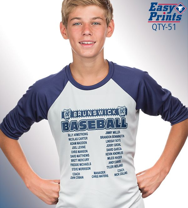 #Baseball shirt design with names of players on the team; add a team roster to your baseball shirt design; QTY-51 More ideas at easyprints.com #sportsapparel