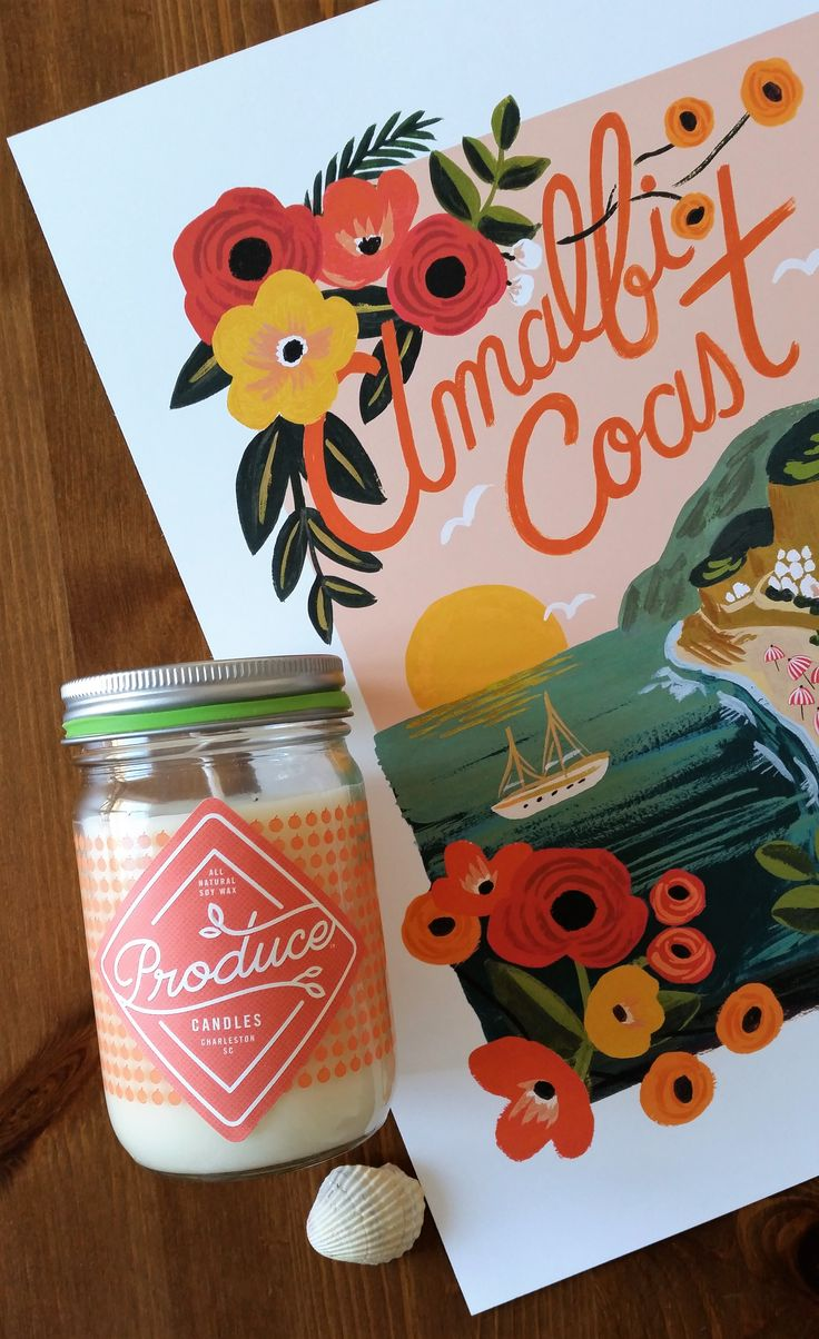 Affiche Rifle Paper Co Amalfi Coast http://pastelshop.fr/s…/affiche-rifle-paper-co-amalfi-coast/ Bougie melon Produce Candles http://pastelshop.fr/shop/bougie-melon-produce-candles/