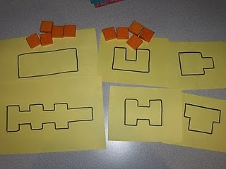 DIY area study templates. Trace square pattern blocks to make different shapes. Ask child to estimate how many blocks will fill the shape, then let them use the blocks to fill the shape and check their estimate.