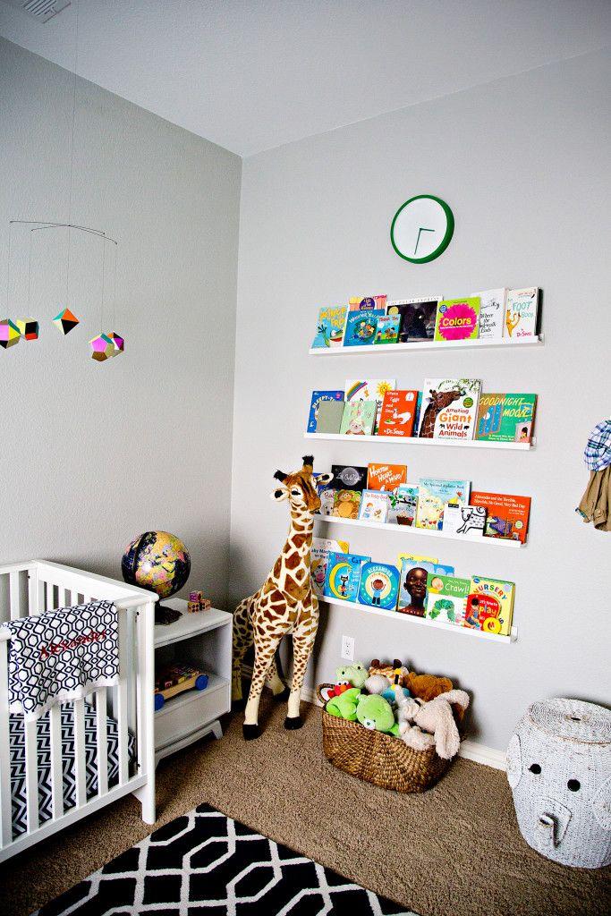 library wall in a mid century modern nursery project nursery