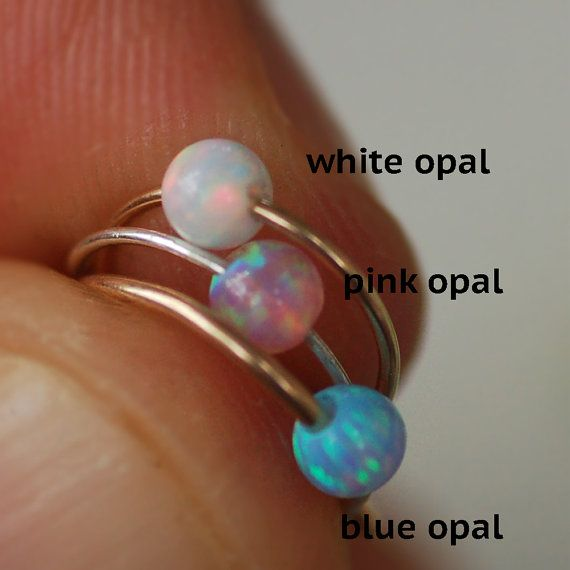 Cartilage hoop Earring tiny opal silver hoop by junelittleshop