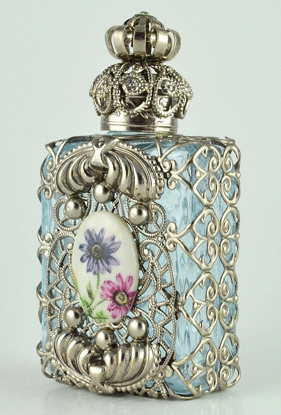 Perfume Bottle Vanity Vintage Vanity Light Blue by chicandcharm, $33.00