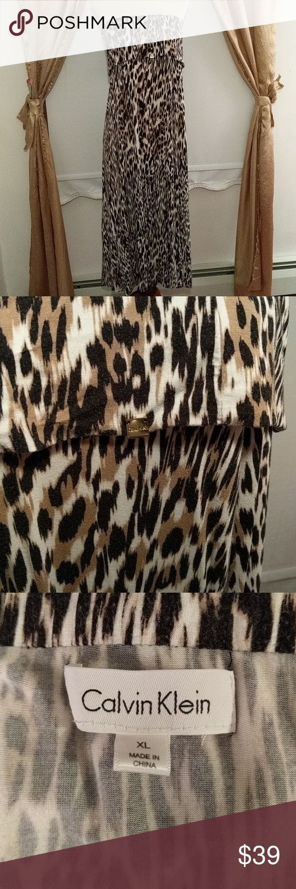 "Calvin Klein Sleeveless Animal Print Maxi Dress X-Large. Soft, knit material, wide elastic, fold over bodice. Machine wash.   Bust 18"" 41"" from underarm to hem Tapers to 34"" across at hem. Calvin Klein Dresses Strapless"