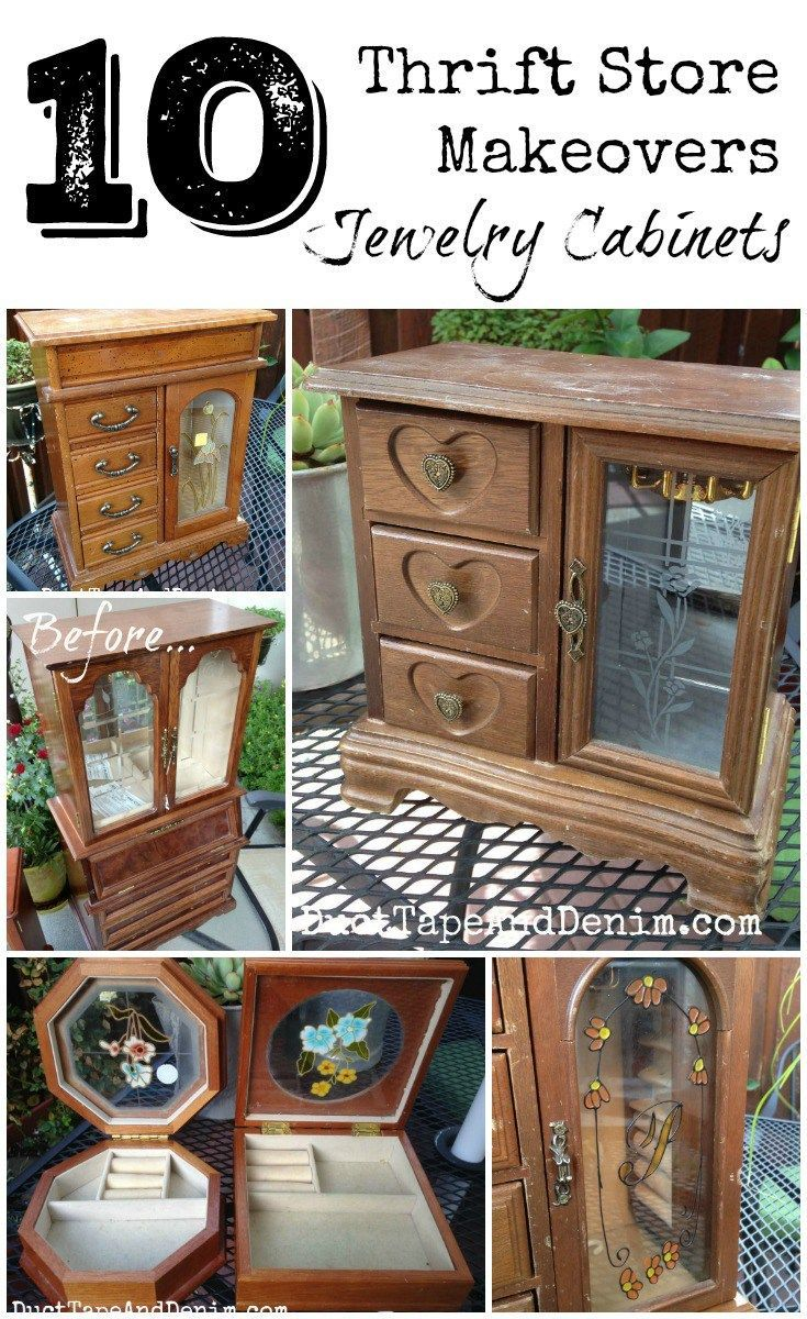 Top 10 Jewelry cabinet and box makeovers on DuctTapeAndDenim.com - All pieces I found at thrift stores and garage sales!