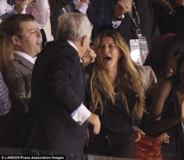 Robert Kraft with Mrs. Tom Brady aka Gisele Bunchden at the Super Bowl Twitter