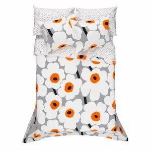 Marimekko Unikko Grey/White/Orange Percale Bedding - Click to enlarge love my new bedding set!!