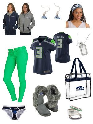 Seattle Seahawks Ladies Game Day Outfit... I'd change a few things, but I like most of it