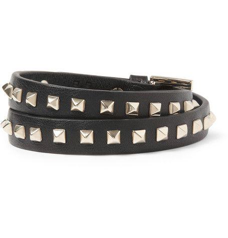 #Valentino Studded Leather Wrap Bracelet