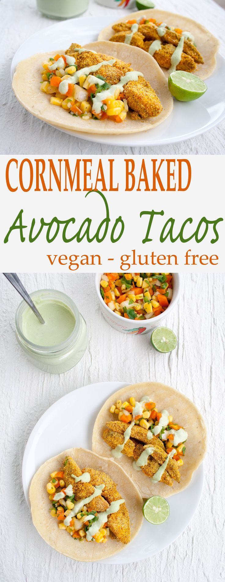 Cornmeal Baked Avocado Tacos - These vegan gluten free tacos have just the right balance of sweet and spicy.