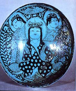 Seljuk, Iran Turquoise and Black Glazed Plate 13th c.