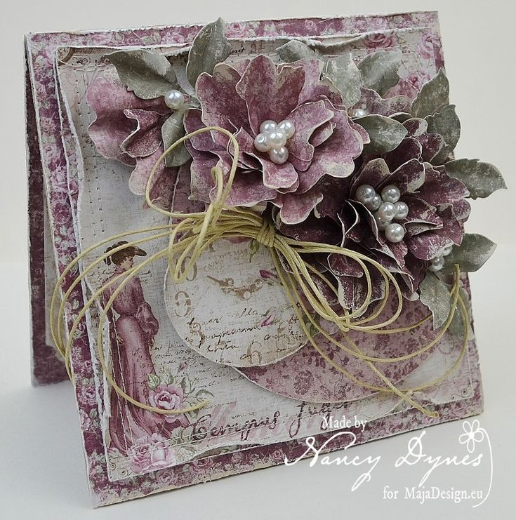A Time Flies 1 (794x800) (2), Card with handmade paper flowers