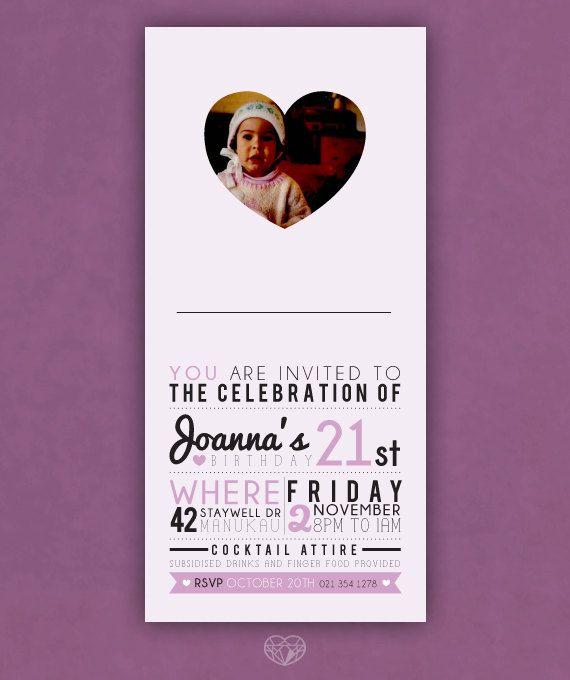 Purple Heart 21st Birthday Invitation - Digital Printable Invite on Etsy, $20.00