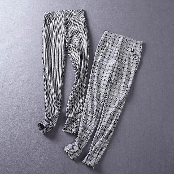 U31 внешней торговли новой корейской версии осенние и зимние внешний носить длинные брюки утолщенный женские брюки значительно тонкие ноги брюки клетчатые леггинсы прилива-Таобао