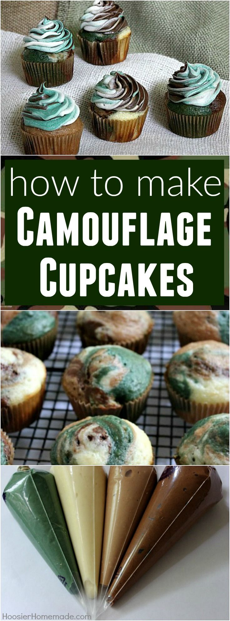 Surprise Dad with these Father's Day Cupcakes! Camouflage Cupcakes with FREE Printable Father's Day Cupcake Toppers!