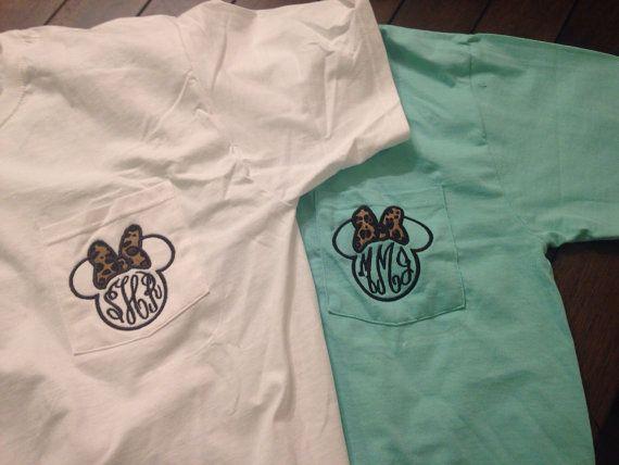 Women's Monogram Applique Disney Minnie Mouse Pocket Tee, Animal Kingdom Leopard Shirt on Etsy, $21.00