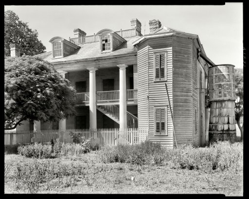"St. John the Baptist Parish, Louisiana, 1938. ""Evergreen -- Wallace vicinity. Structure dates from 1835. Abandoned. Canal Bank Liquidators."" 8x10 inch acetate negative by Frances Benjamin Johnston."