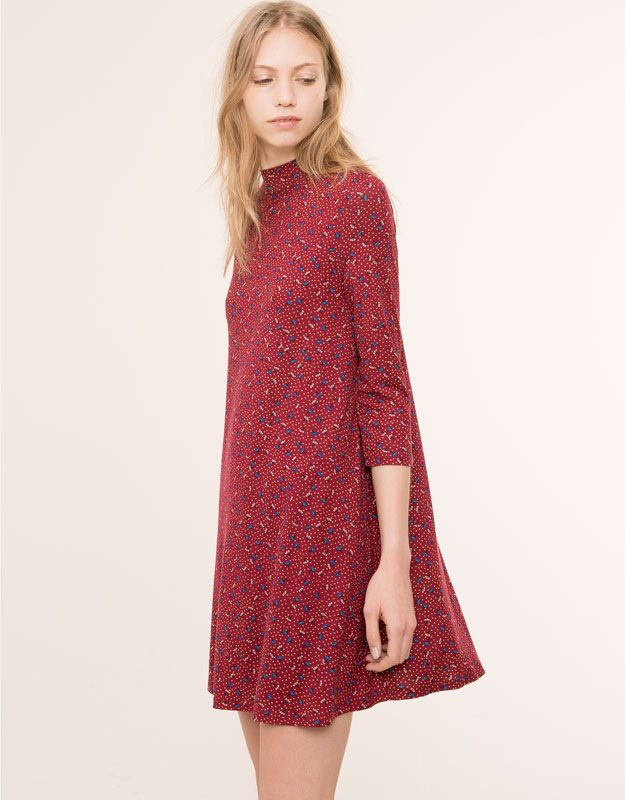 Pull&Bear floral print high collar dress maroon #5