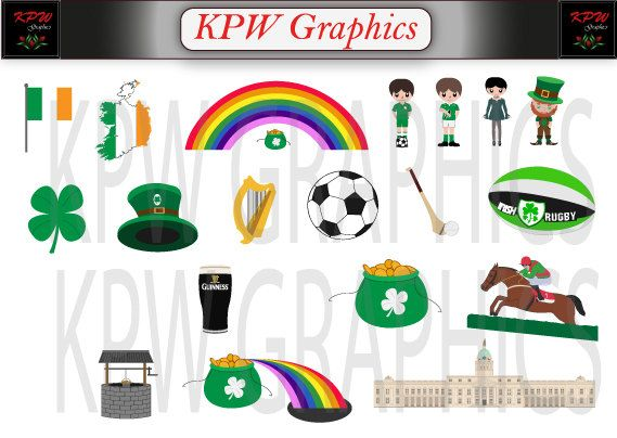 Ireland  Countries of the World Clipart Set in a by KPWgraphics