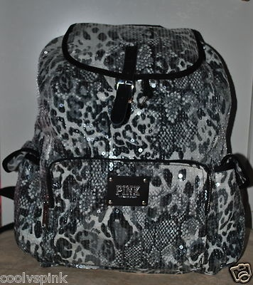 Victoria Secret Pink Bling Backpack Book Bag Handbag Cheetah Animal Print