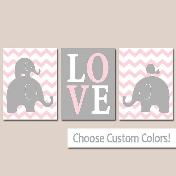 Girl ELEPHANT Nursery Elephant Chevron Bird Love Pink Gray
