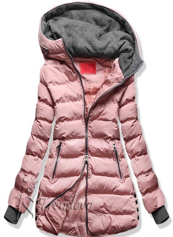 Ružovo-sivá zimná bunda