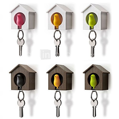 vogelnest mus huis sleutelhanger ring ketting plastic fluitje muur haak houders (willekeurige kleur) 7 * 5 * 8 cm - USD $5.99