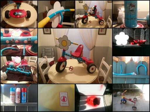 vintage Minnie Mouse radio flyer trike diy revamp. 3 days all under $30. I could have cut out about $10 if i had coupons on me.