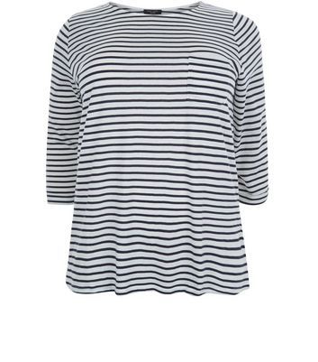 """Curves. Bring classic stripes into your everyday look with this blue stripe 3/4 sleeve top. Team with skinny jeans and plimsolls for an effortless finish.- All over stripe print- Single pocket front- Rounded neckline- 3/4 sleeves- Casual fit that is true to size- Soft cotton fabric- Model is 5'9""""/180cm and wears UK 18/EU 46/US 14 Created for women of size 18 to 28/EU 46 to 56**Selected styles are available up to size 32/ EU 60"""
