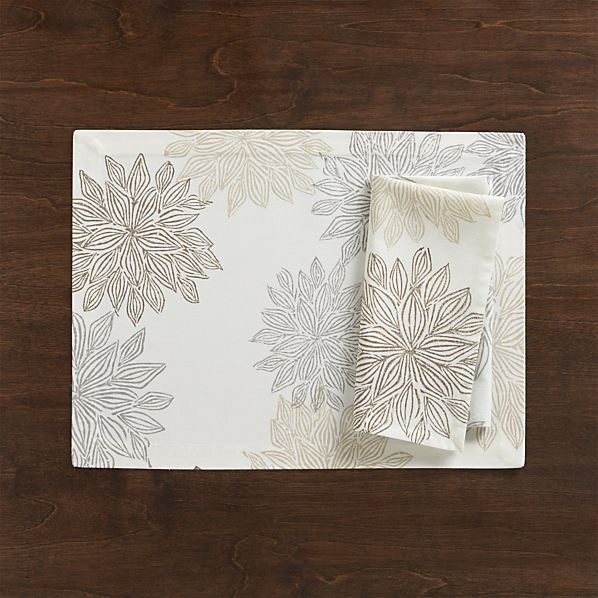 Chrysanthemum Neutral Placemat and Napkin  | Crate and Barrel