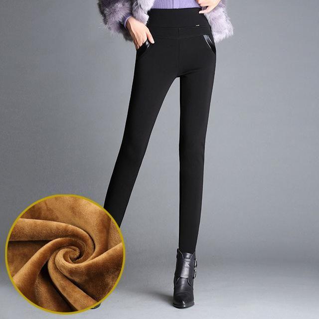 Winter Leggings Women Plus Thick Velvet Pencil Pants Elastic Waist Trousers Warm Leggings Outer Wear Leggins Plus Size S-6XL 1