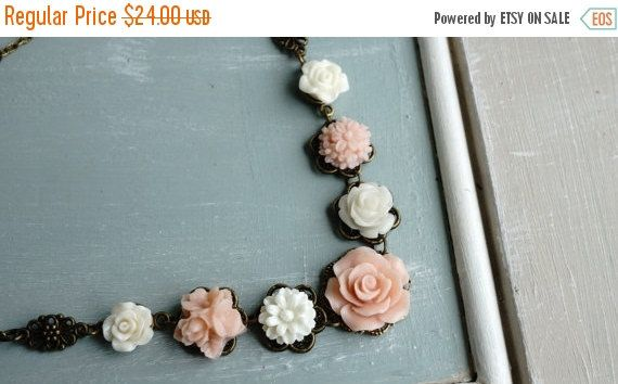 20 off SALE Necklace, Blush and Ivory resin flower necklace by VerdigrisGifts on Etsy https://www.etsy.com/listing/159834506/20-off-sale-necklace-blush-and-ivory