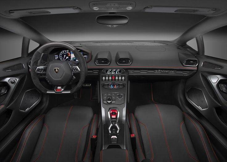 The interior of the Lamborghini Huracán LP580-2.