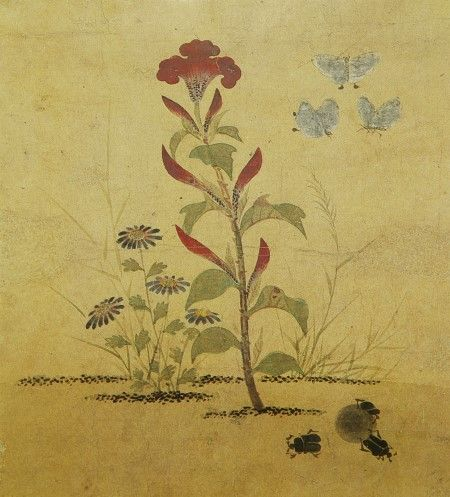 • Title: 맨드라미와 쇠똥벌레 ( a cockscomb and bug ) • Artist: 신사임당 /age: 16c