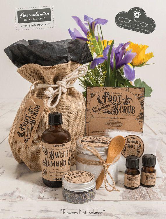 DIY Spa Gift Set Lavender & Peppermint Foot Scrub Kit by CocoonUK