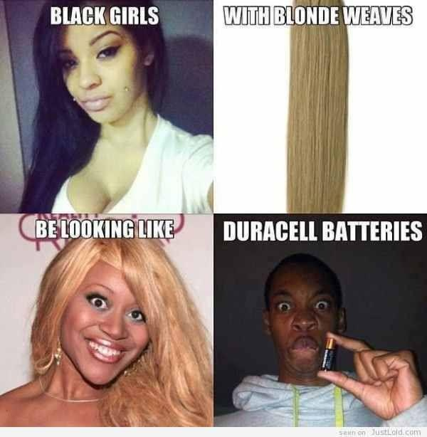 Omg, I will see this every time I see a blonde weave now...I can't...