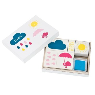 Wooden Stamp Set $19.95 - Add some sunshine into your next DIY project with this fun Wooden Stamp Set.