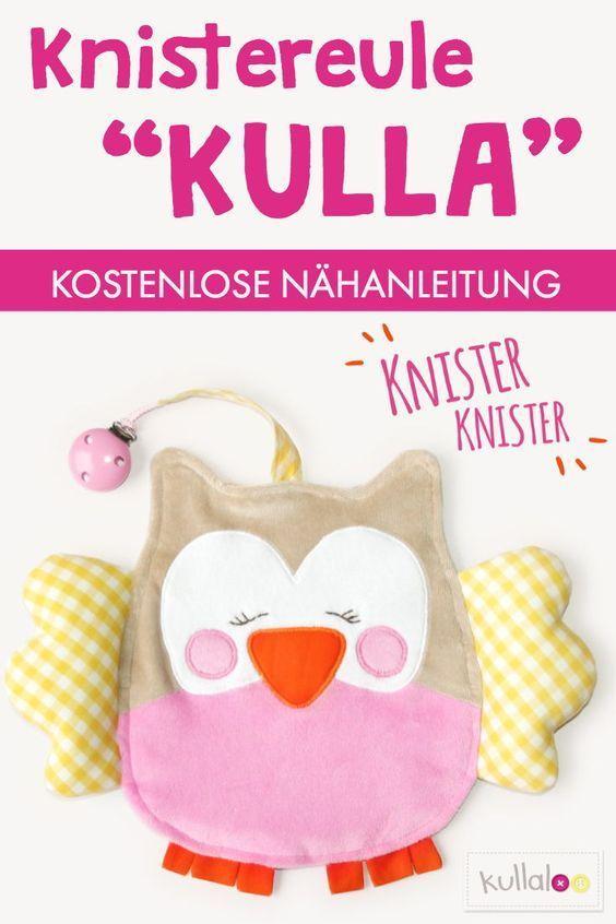 """Freebook Knistertuch Eule """"KULLA"""" zum nähen für Babys"""