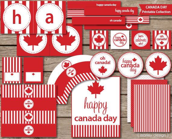 Canada Day Party Printables Collection Instant by MarleyDesign