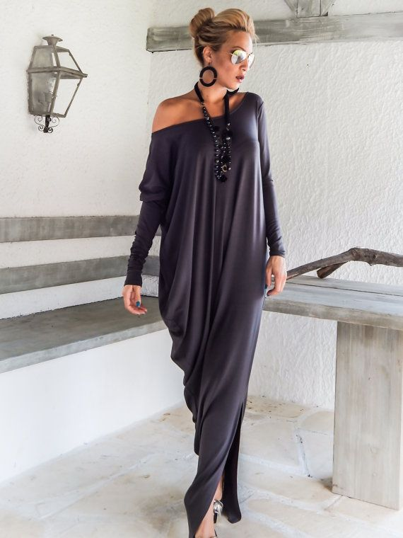 Gray Maxi Long Sleeve Dress / Gray Kaftan / by SynthiaCouture
