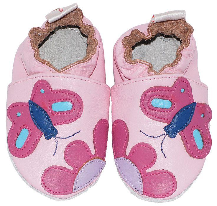 leren babyslofjes pink butterfly