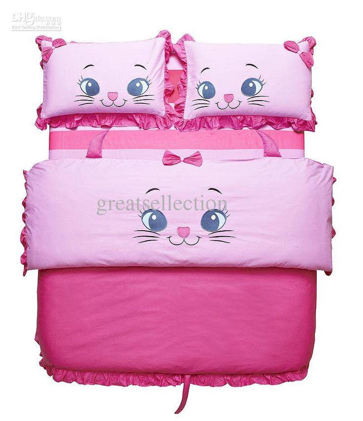 new embroidered cute cat pink girls children bedding sets twin size kids duvet cover bed sheet set and comforter 3pcs or 4pcs bed in a bag
