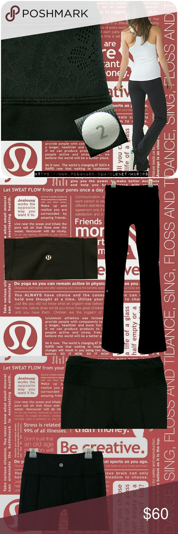 ♥Lululemon black reversible groove pant lace inset Excellent condition!  Lululemon groove pant in size 2.  Reversible. Solid black on one side. The other side has lace inset on the sides of waist band. Solid side has Lulu symbol on back of waistband. Lace