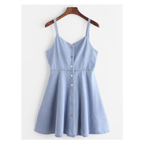 Blue Single Breasted Slip Denim Dress (53 BRL) ❤ liked on Polyvore featuring dresses, blue denim dress, blue color dress, blue slip dress, denim dress and slip dress