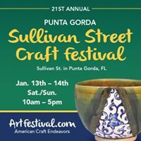 As seen in Naples Daily News!  21st Annual Punta Gorda Sullivan Street Craft Festival - Saturday, January 13th - Sunday, January 14th from 10am - 5pm on Sullivan Street. Free Admission. Details at ArtFestival.com.