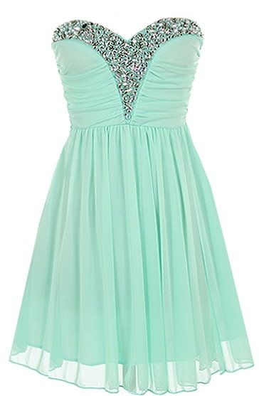 Iced Princess Dress: Features a beautiful sweetheart neckline trimmed with sparkling jewels embellished by hand, padded bust for comfortable support, ruched bodice crowning an empire waist, and a feather-light chiffon skirt to finish.