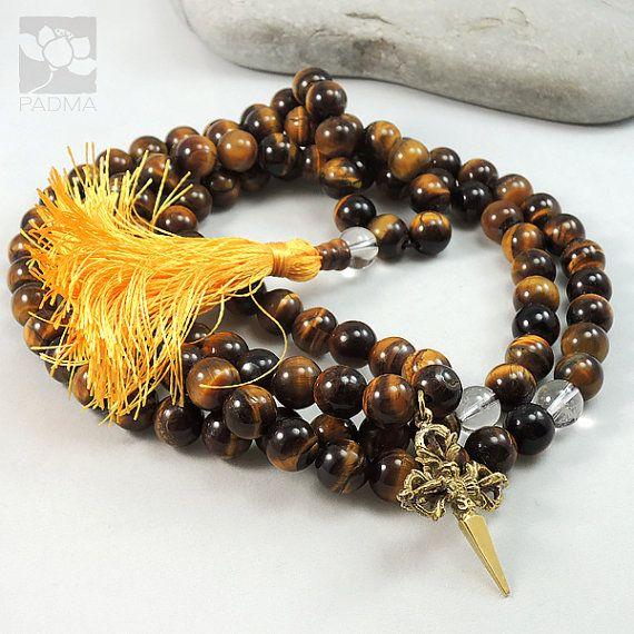 108 Tiger eye Beads Quartz Crystal Beads Tibetan by PadmaZenArt