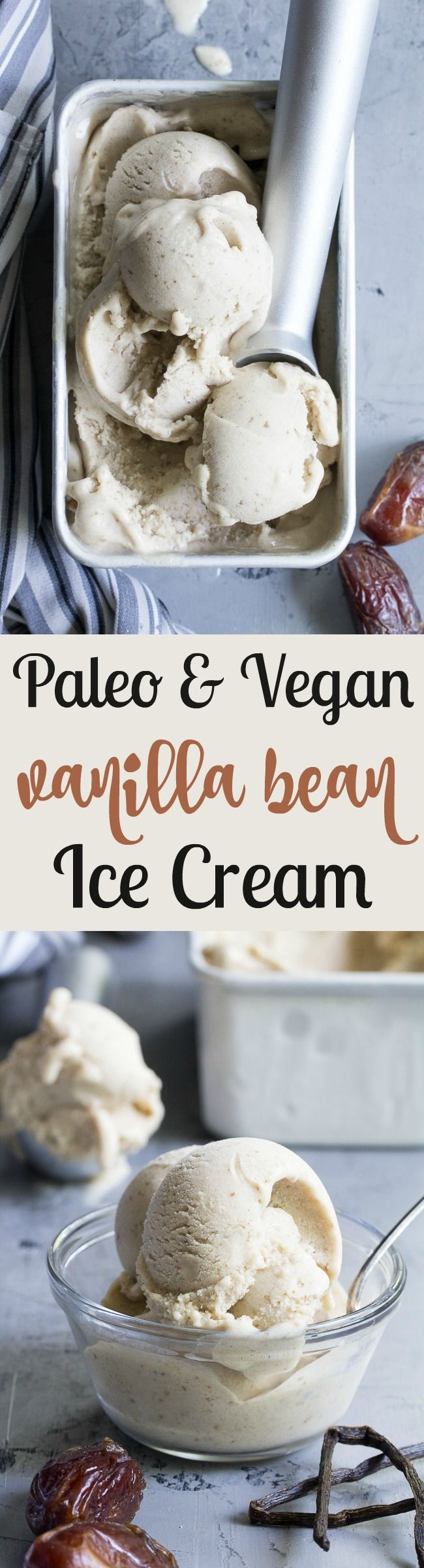 This dairy-free vanilla bean ice cream is made with coconut milk & cream and sweetened with dates for a naturally creamy texture and sweet flavor.  It's paleo and vegan, soy free and contains no refined sugar.  This healthy dessert is packed with vanilla flavor and ready for all your favorite toppings!